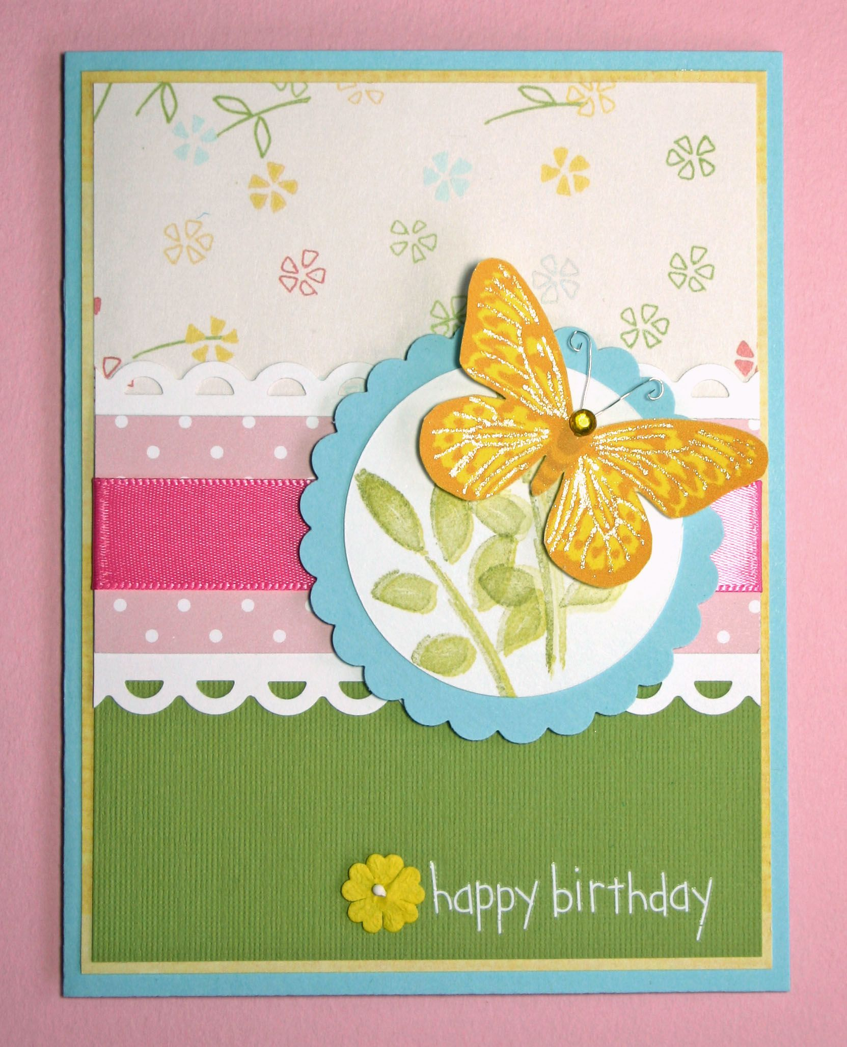Handmade Card HAPPY BIRTHDAY butterfly family friends