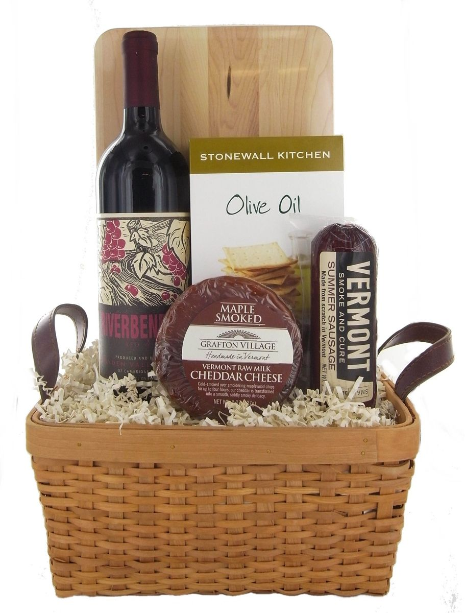 Simple Vermont Red Wine Basket Cheddar cheese, Red wines