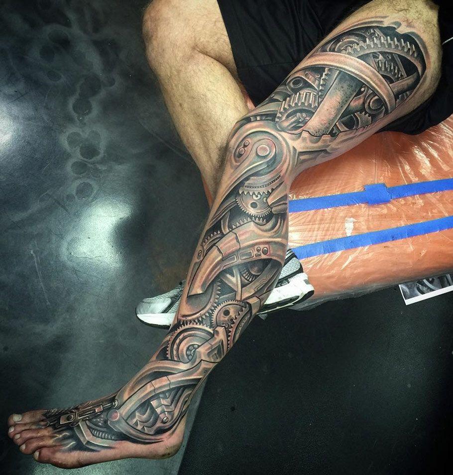 Biomechanical Leg Sleeve Best tattoo ideas & designs