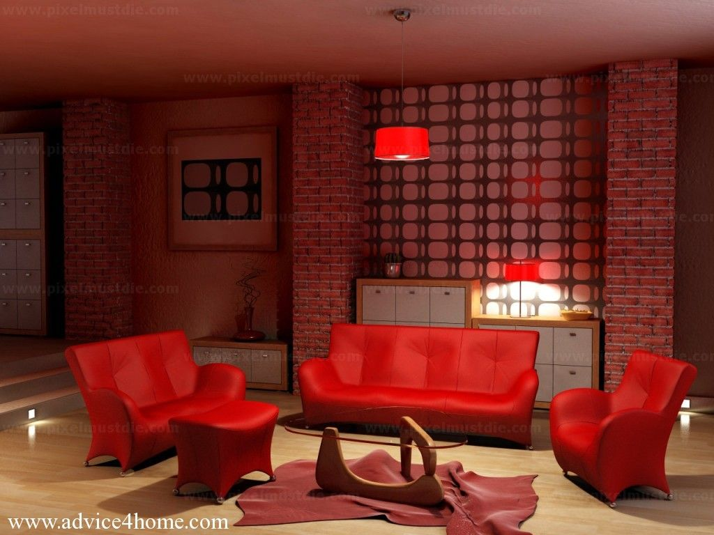 Fire Red Living Room With Red Sofa Set Design
