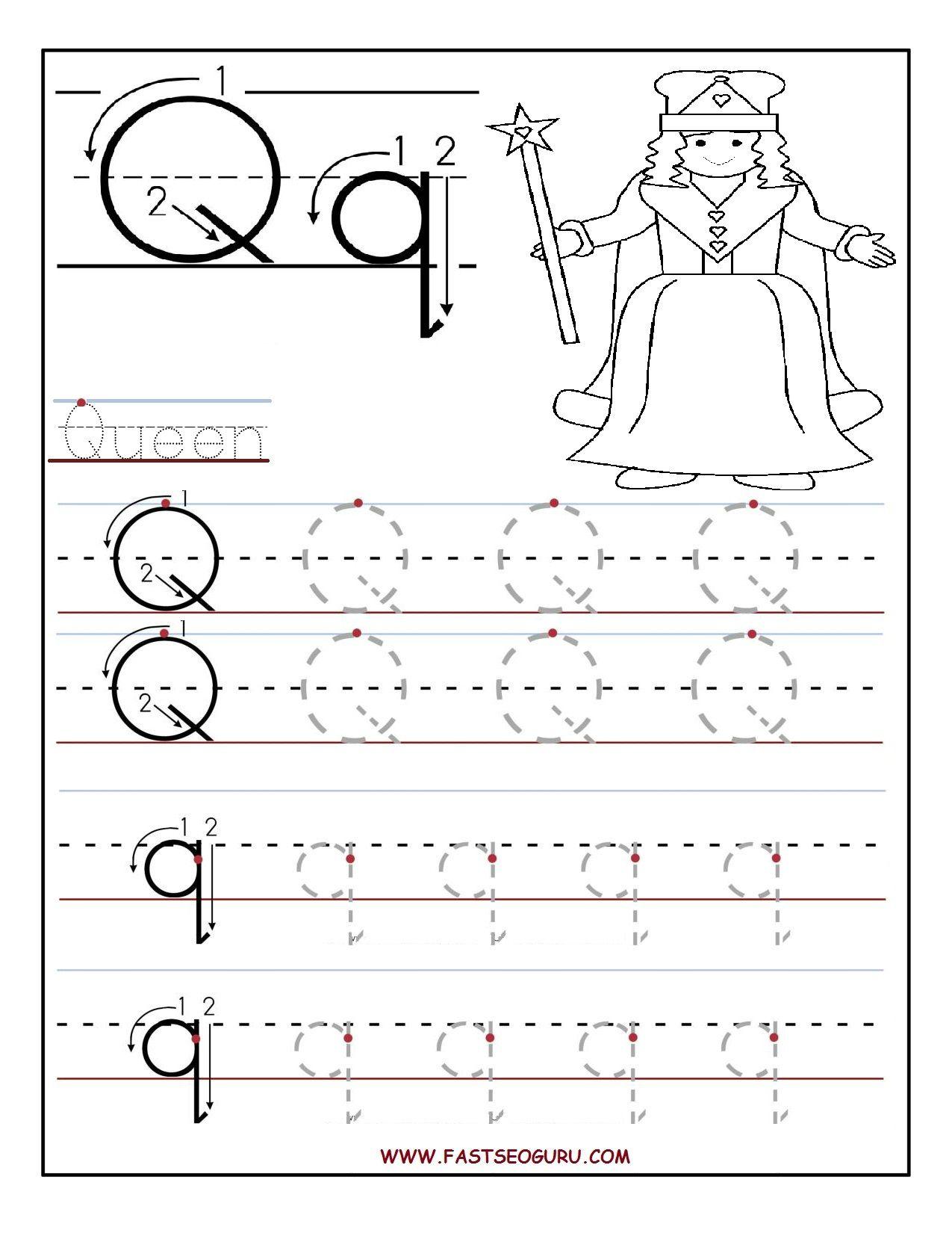 Printable Letter Q Tracing Worksheets For Preschool
