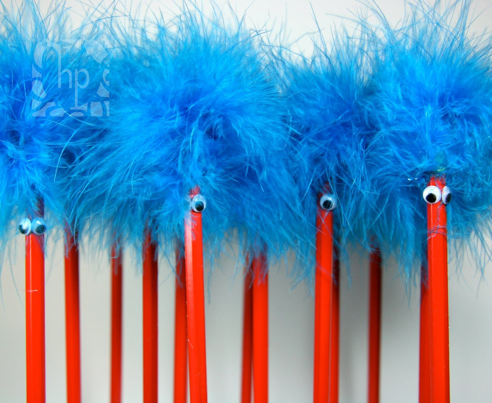 Ideas For Dr Seuss Birthday Thing 1 Thing 2 Pencil Toppers With Red Pencil Googly Eyes
