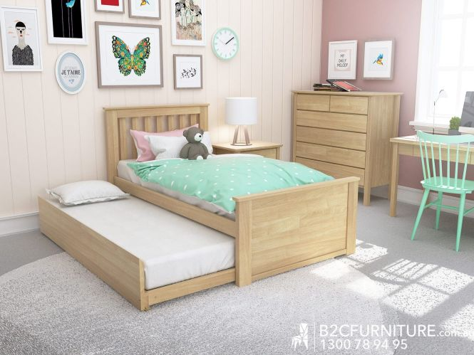 Natural Kids Single Trundle Bed Modern Minimalist Design B2c Furniture