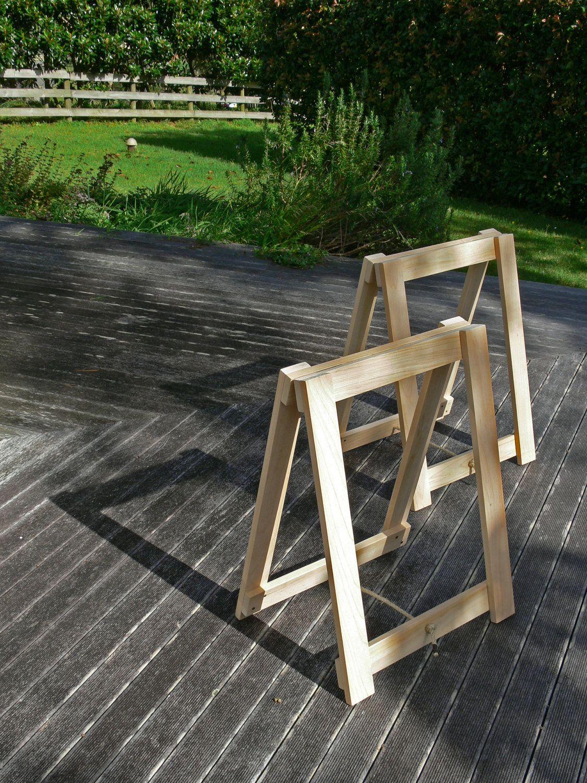 diy trestle legs for studio workbench. build me