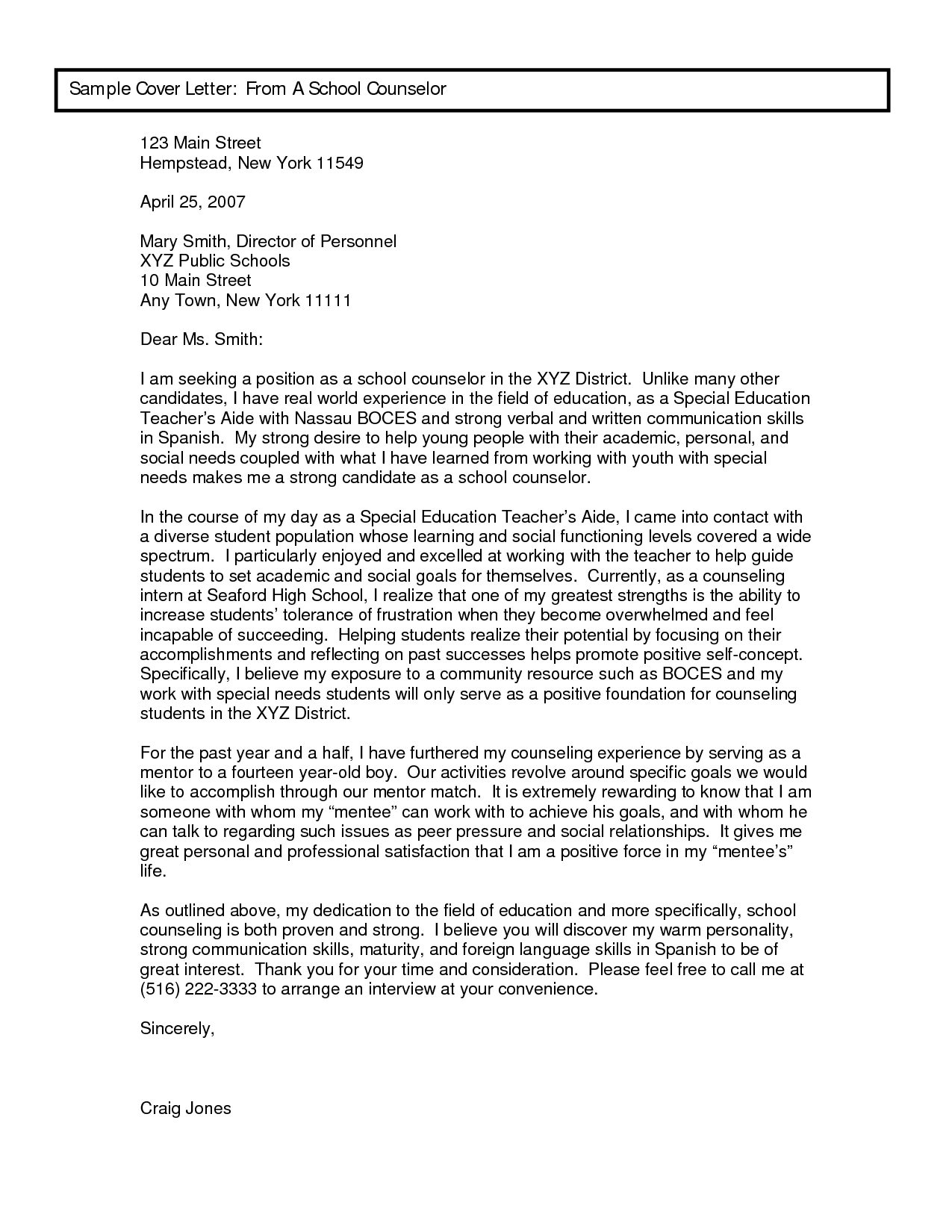 Professional School Counselor Resume Sample Cover Letter