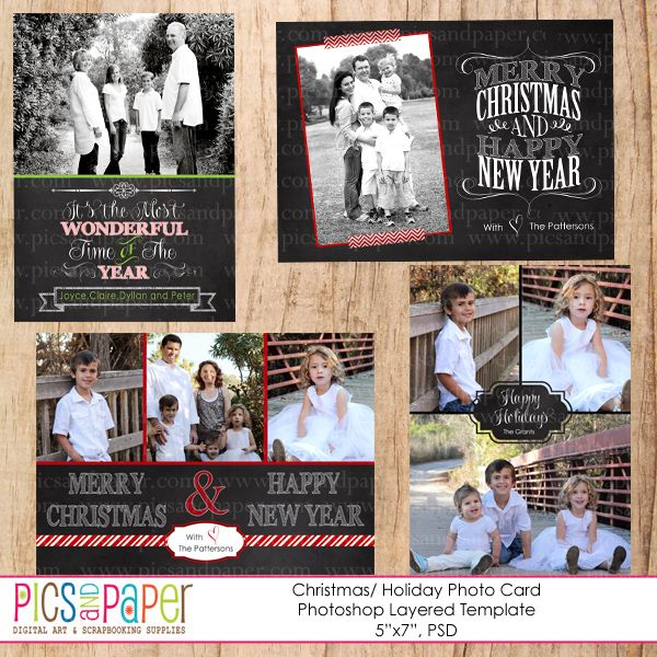 Chalkboard Christmas Cards PSD Template 4 Different