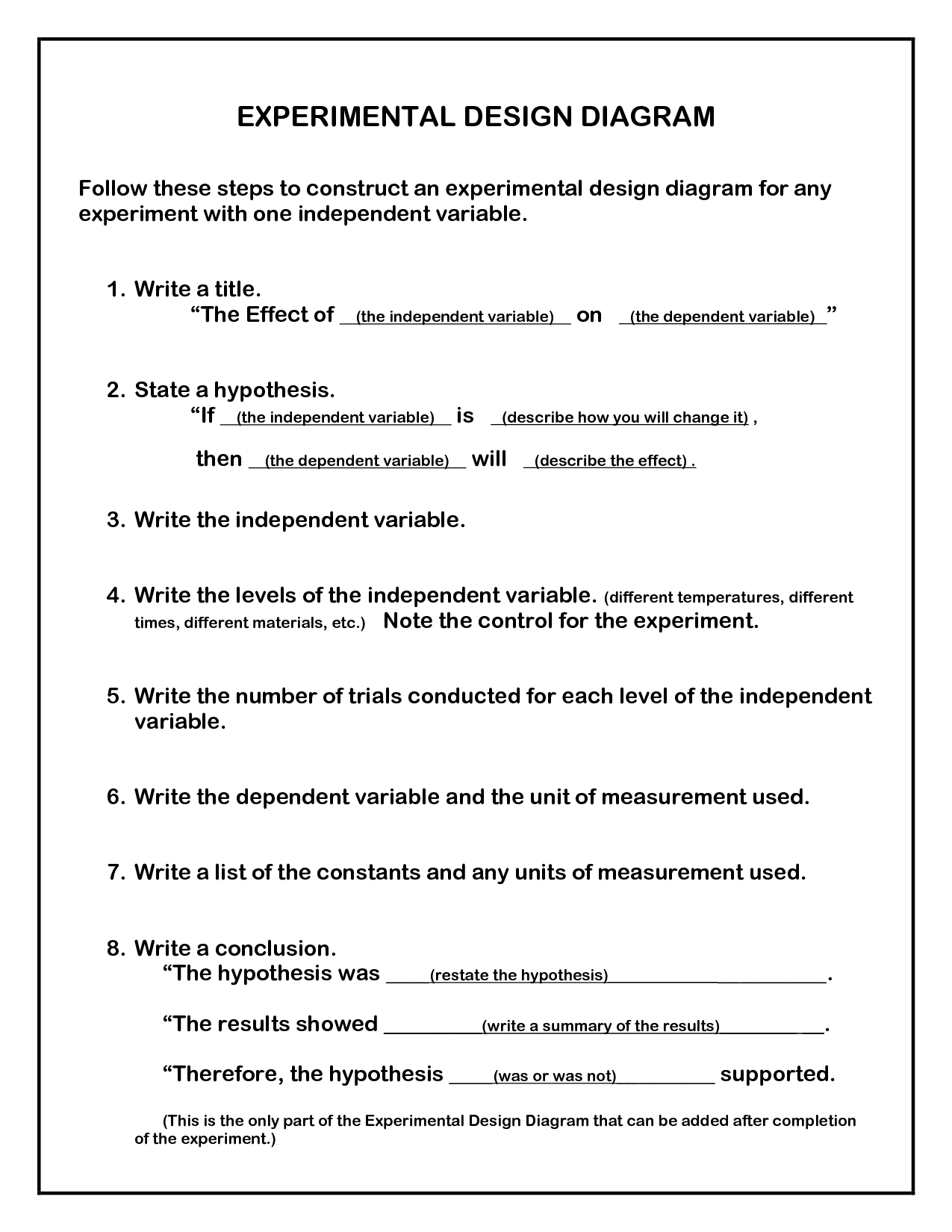 28 Experimental Design Worksheet Middle School