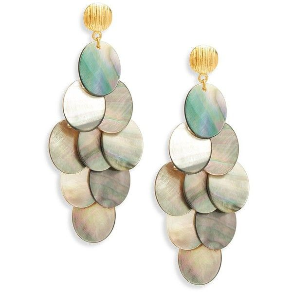 Nest Statement Grey Mother Of Pearl Chandelier Earrings 295 Liked On