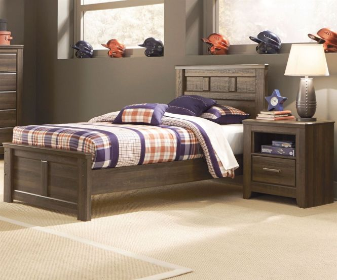 Ashley Juararo Twin Size Panel Bed At Kids Furniture Warehouse The Collection Features A Vintage Aged Brown Rough Sawn Finish Over Replicated
