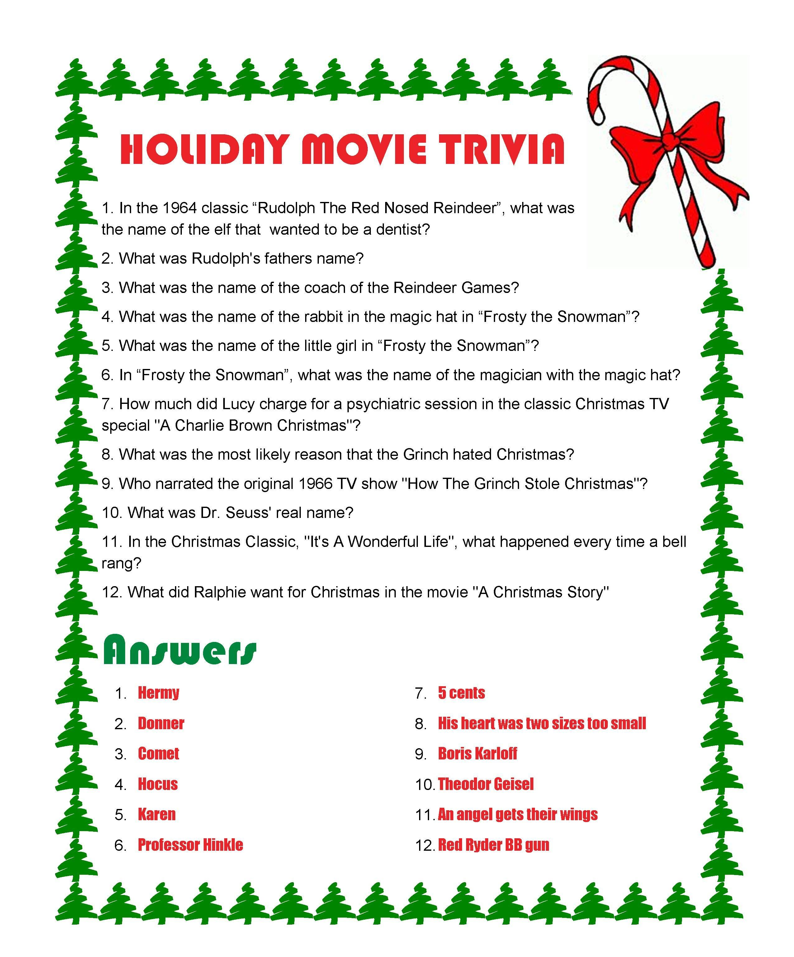 Holiday Movie Trivia With Answers History
