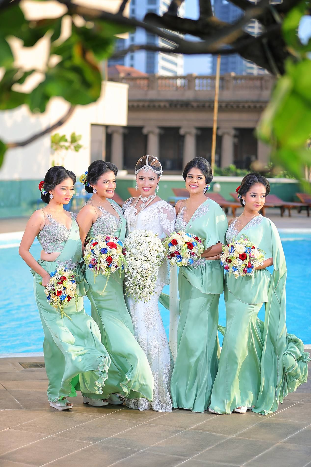 Sri Lankan bridesmaids Sri Lankan Weddings Pinterest