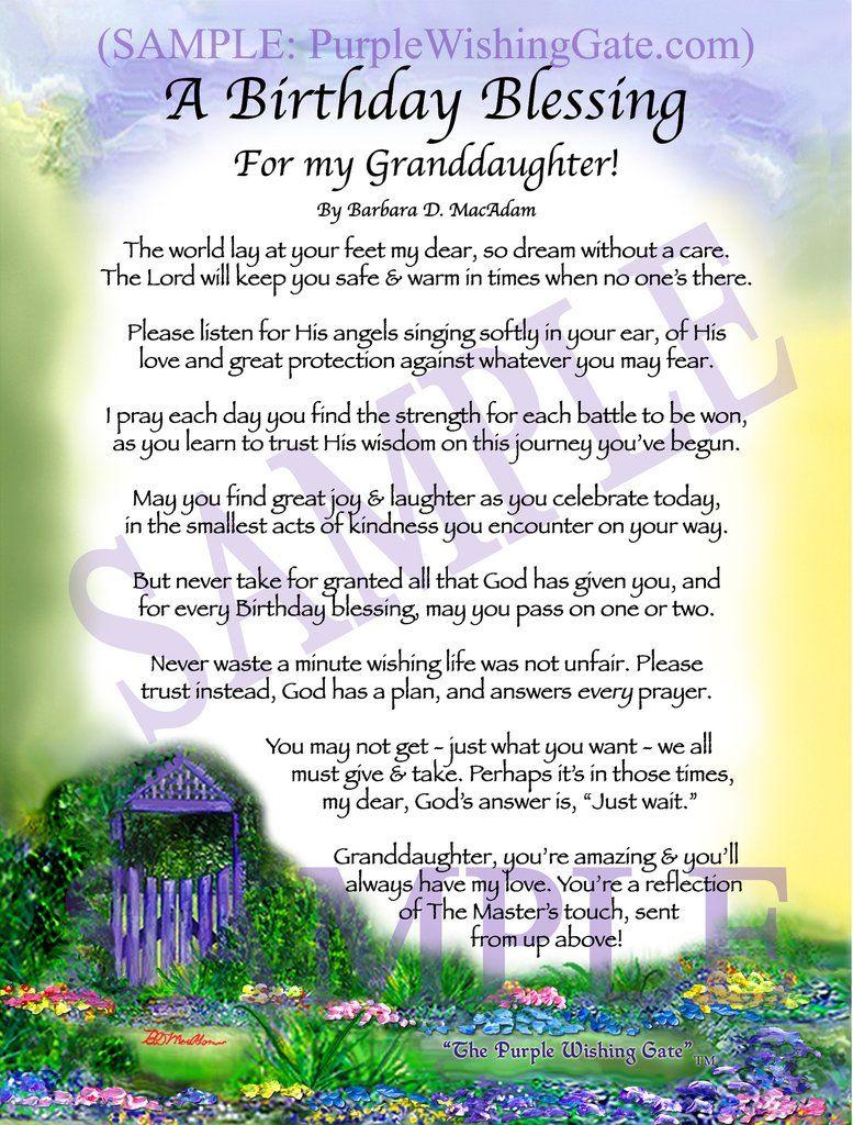 A Birthday Blessing for Granddaughter Family Birthdays