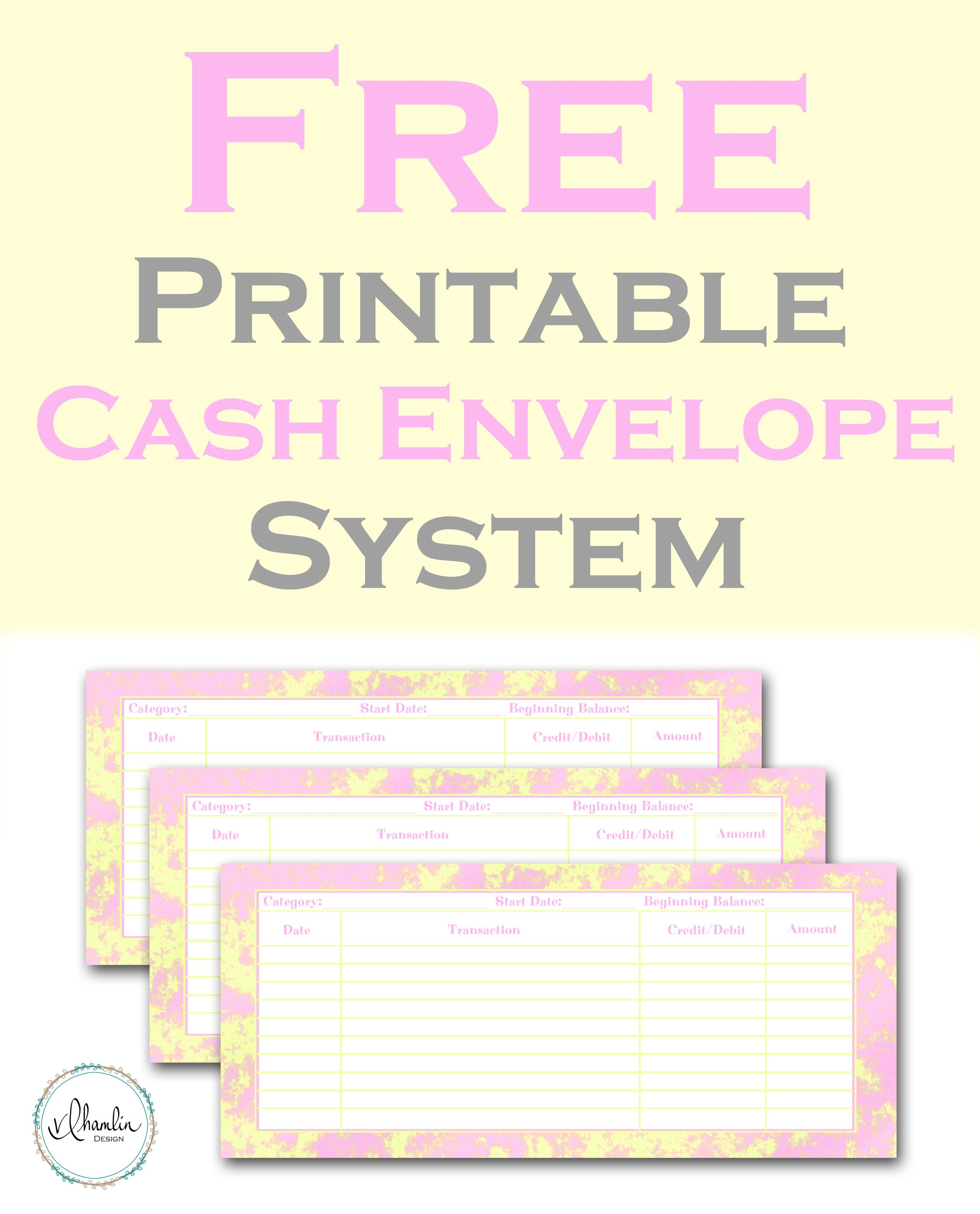 Free Printable Cash Envelope System