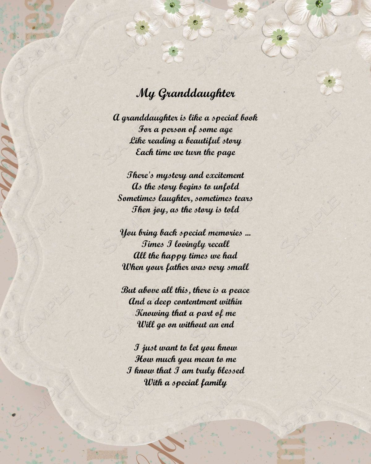 Granddaughter Poem Love Poem 8 X 10 Print By Queenofheart Ts