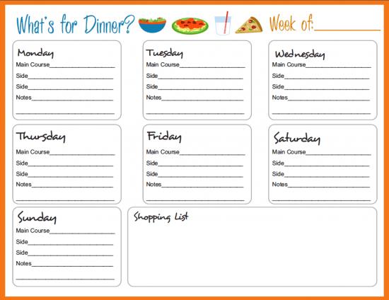 Dinner Meal Planner Template meal plan printable 20 free menu – Menu Planner Templates