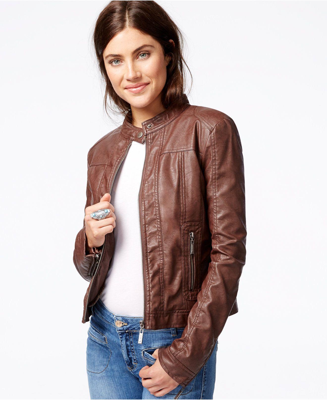 Jou Jou FauxLeather Moto Jacket Coats Women Macy's