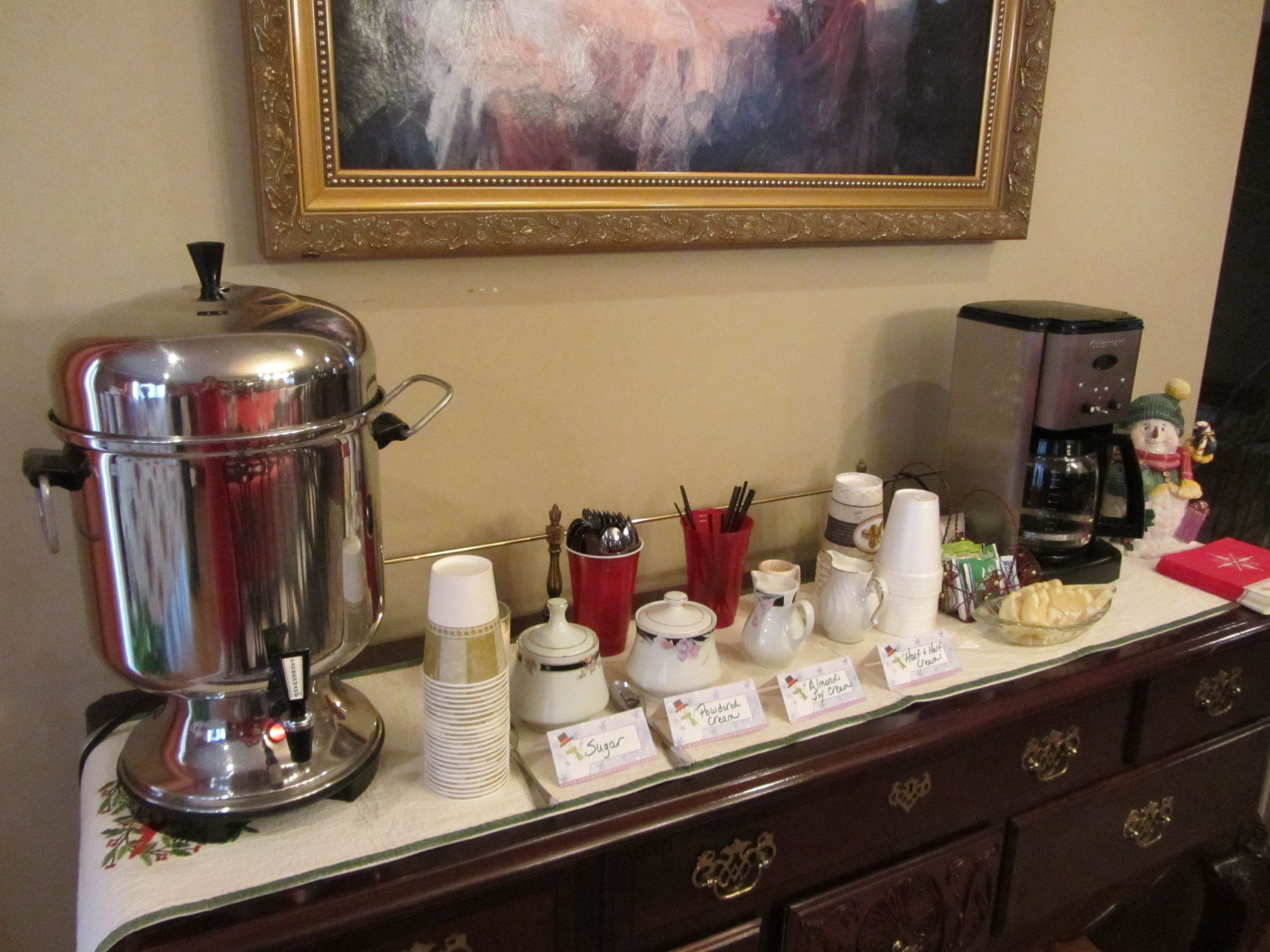 Coffee and tea station for a party. Party Ideas