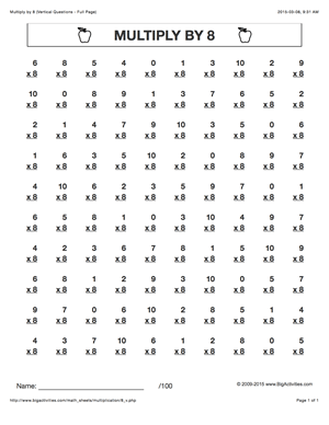Multiply by 8. Multiplication math worksheets with 6