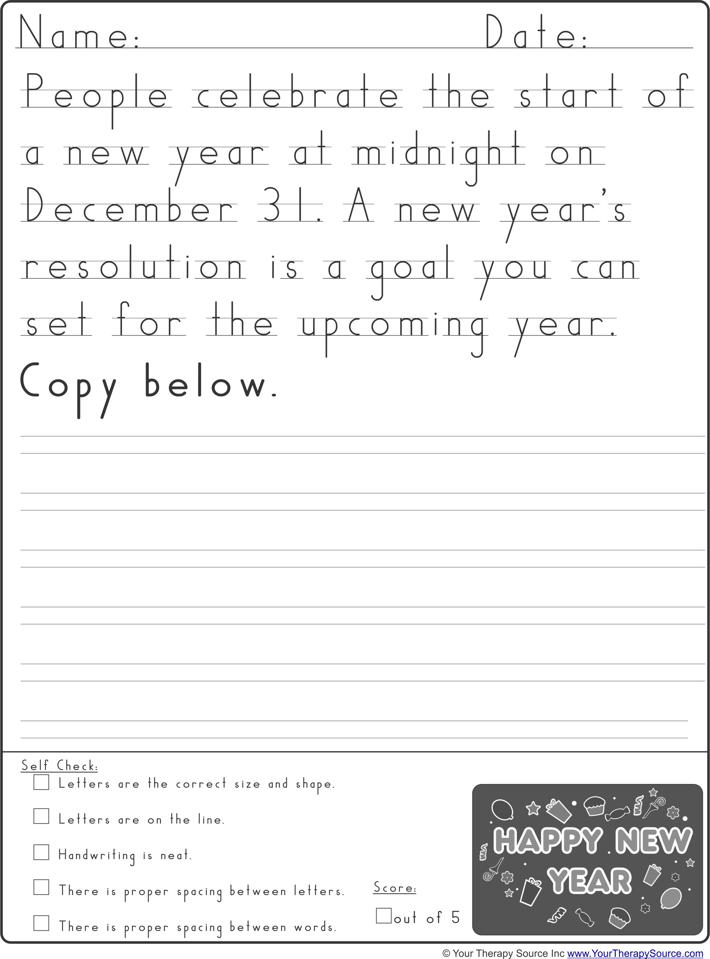 New Year Handwriting Practice From