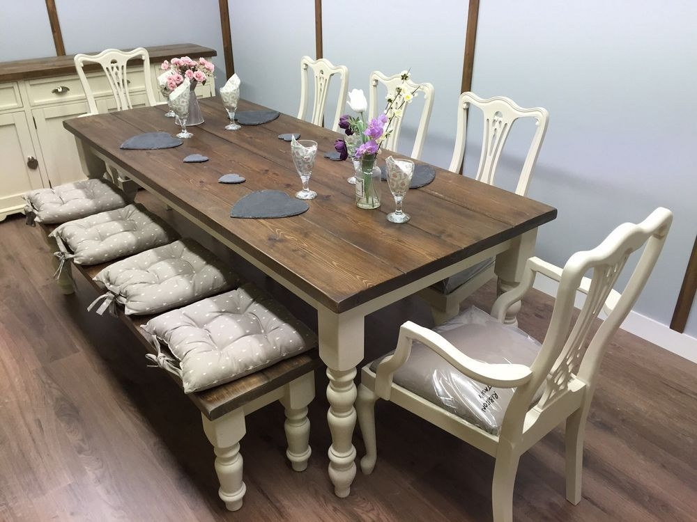 LARGE 7ft FARMHOUSE Table And Chairs Bench SHABBY CHIC OAK