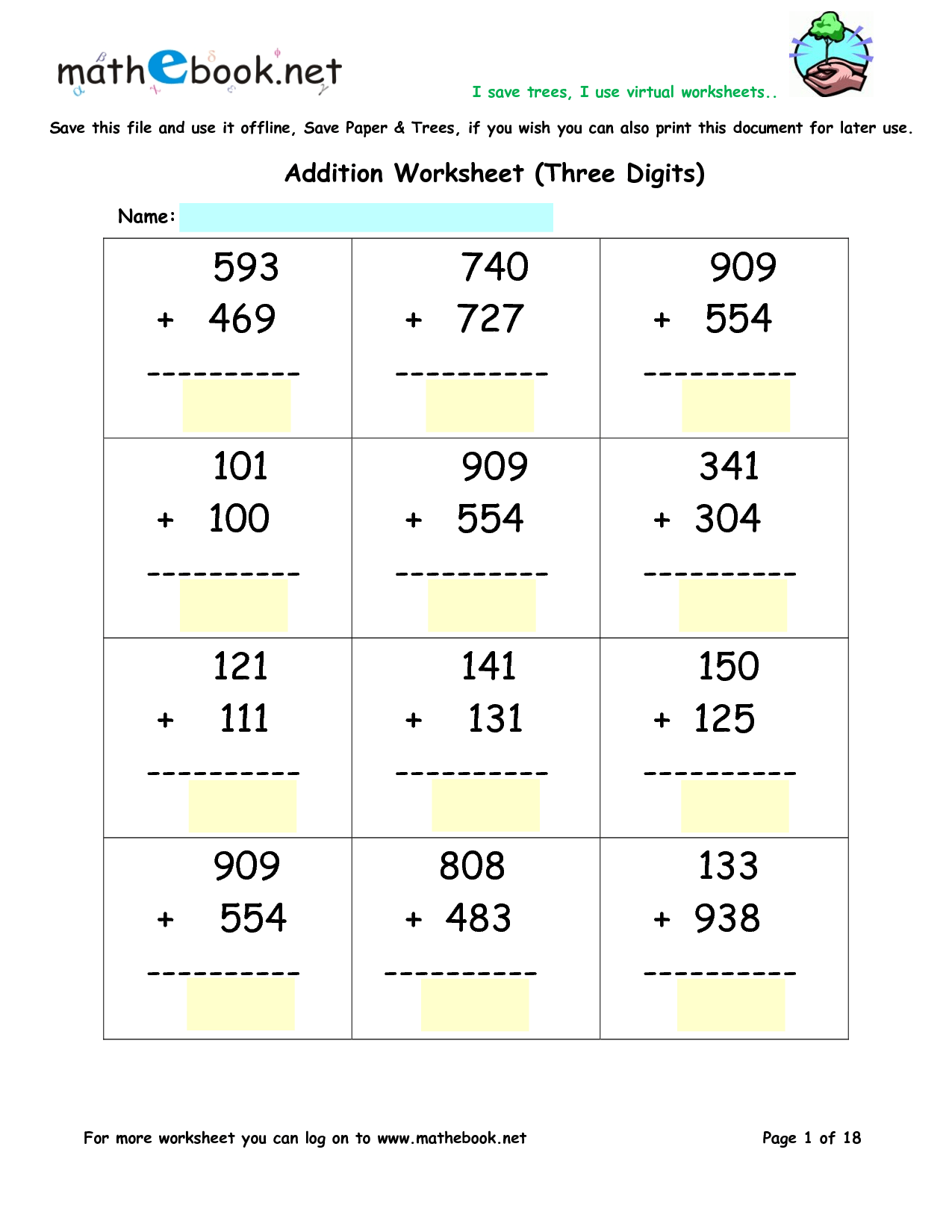 Addition Worksheets Triple Digit Addition