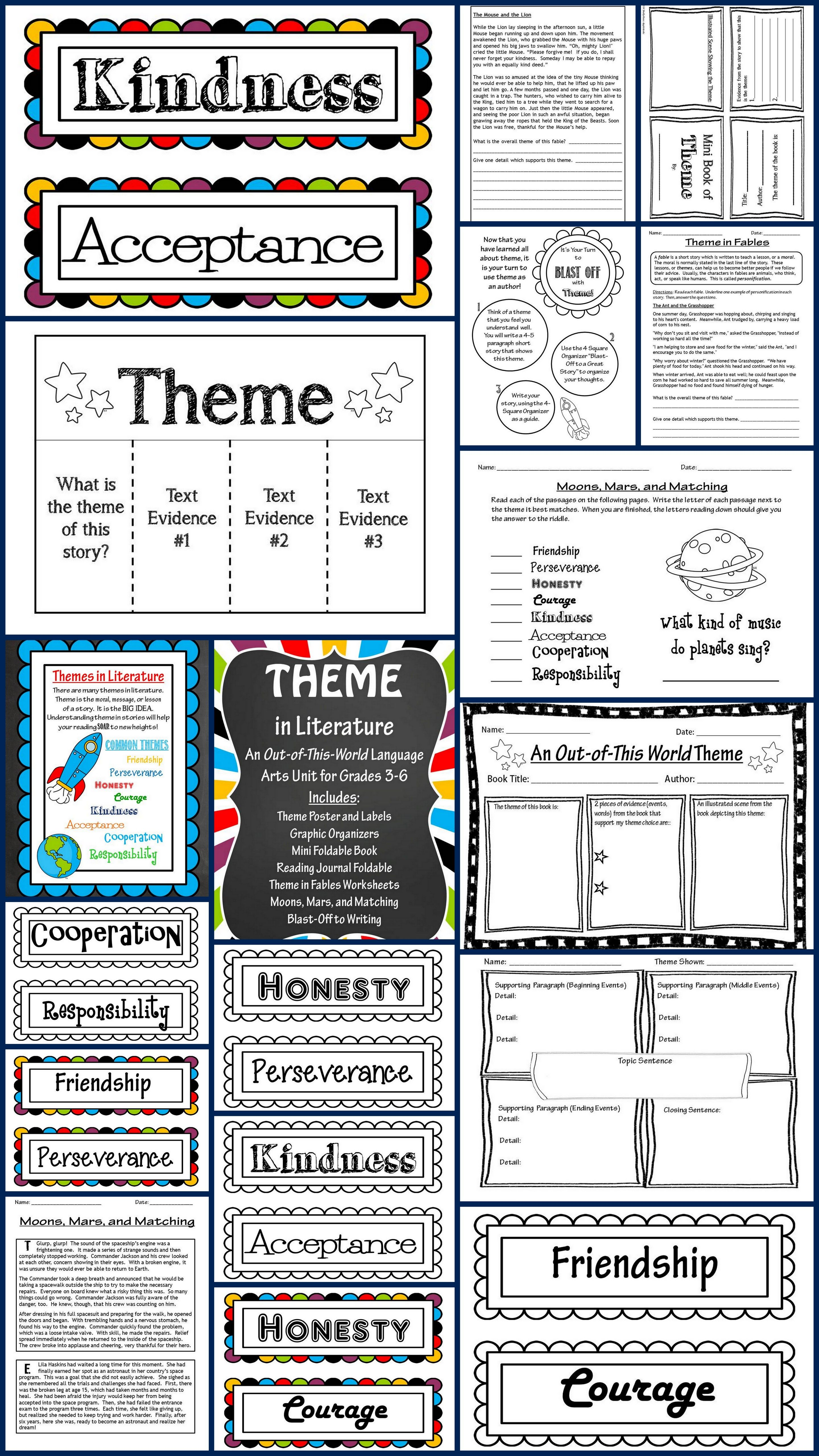 Theme In Literature Theme Match Foldables Writing