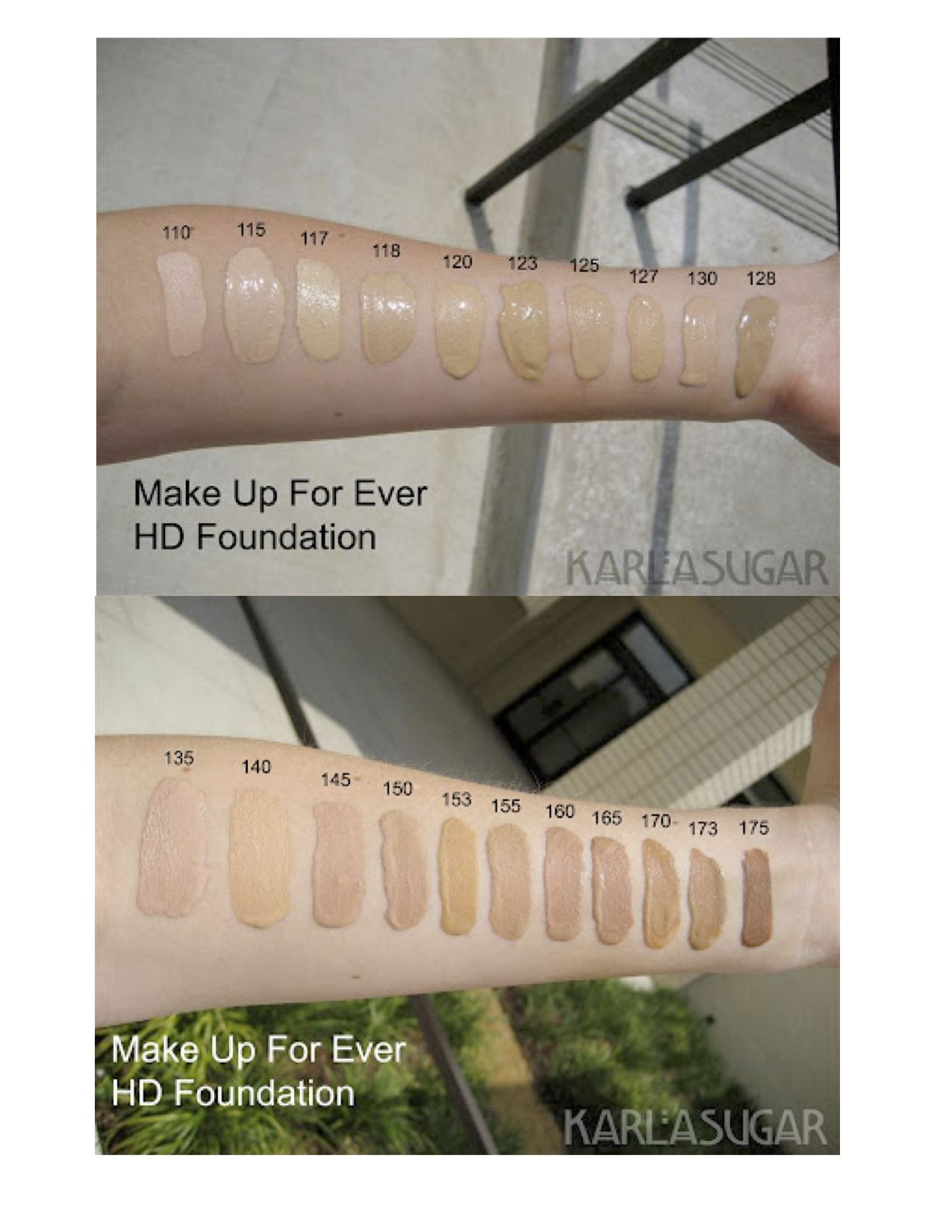 Make Up For Ever HD Foundation Makeup Swatches