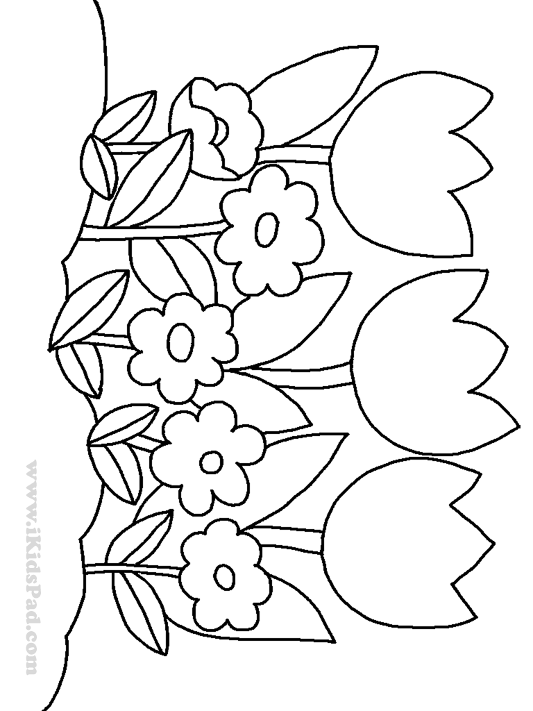 row of tulip flowers coloring pages for kids Coloring