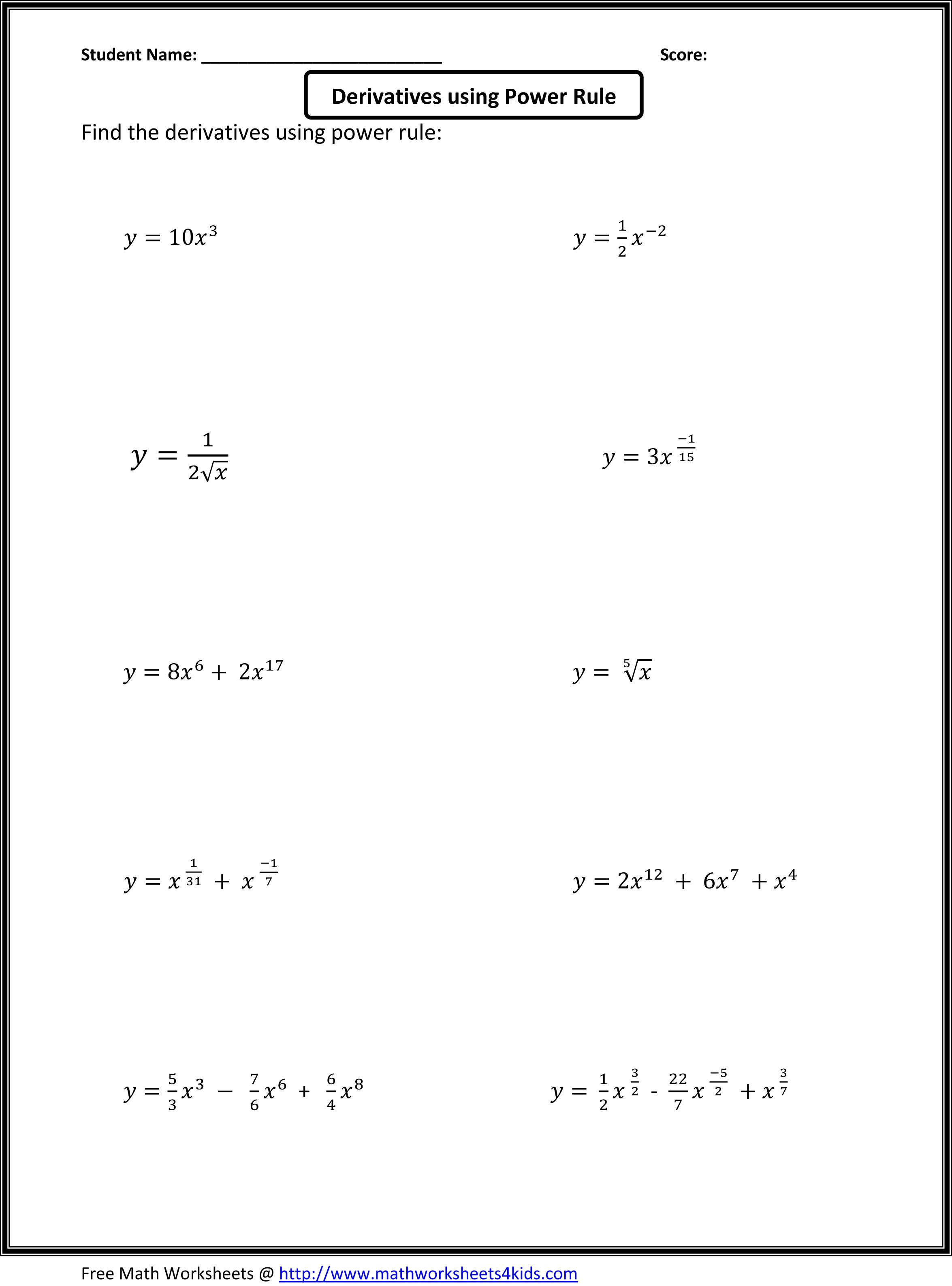 28 Derivative Worksheet With Solutions