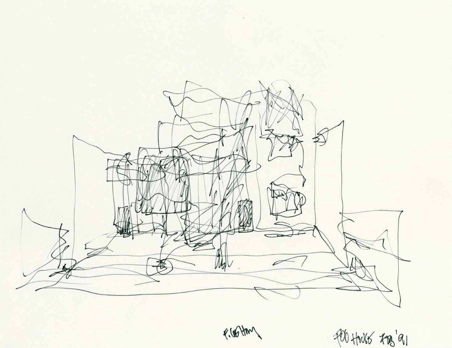 Frank Gehry S Sketch Of Gehry Residence Santa Monica