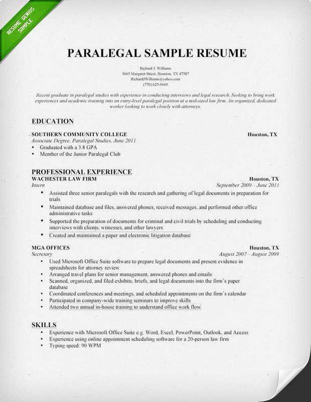 paralegal resume templates resume sample