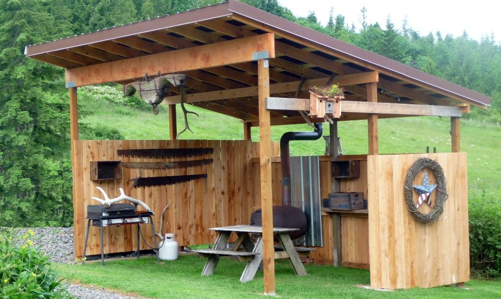 Covered picnic shelter/ outdoor kitchen area Hay burners