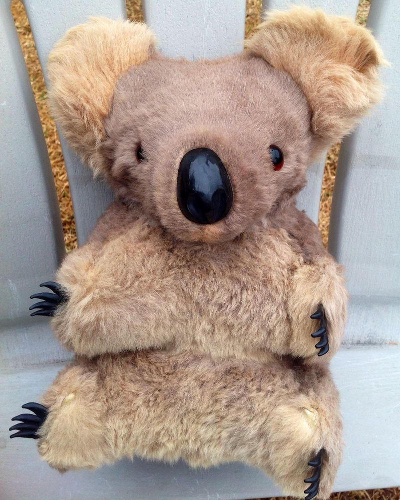 "Big! 12"" vintage australian glass eyes real fur koala bear"