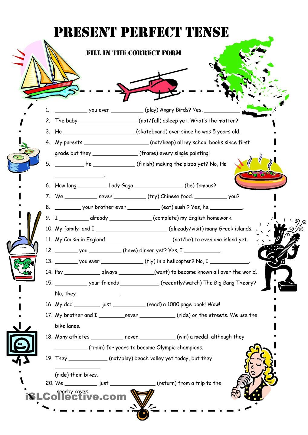 A1 Present Perfect Simple Practice Engleski Pinterest