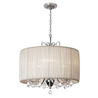 Chic 5 Light Crystal Chandelier With Oyster Pleated Drum Shade Ping