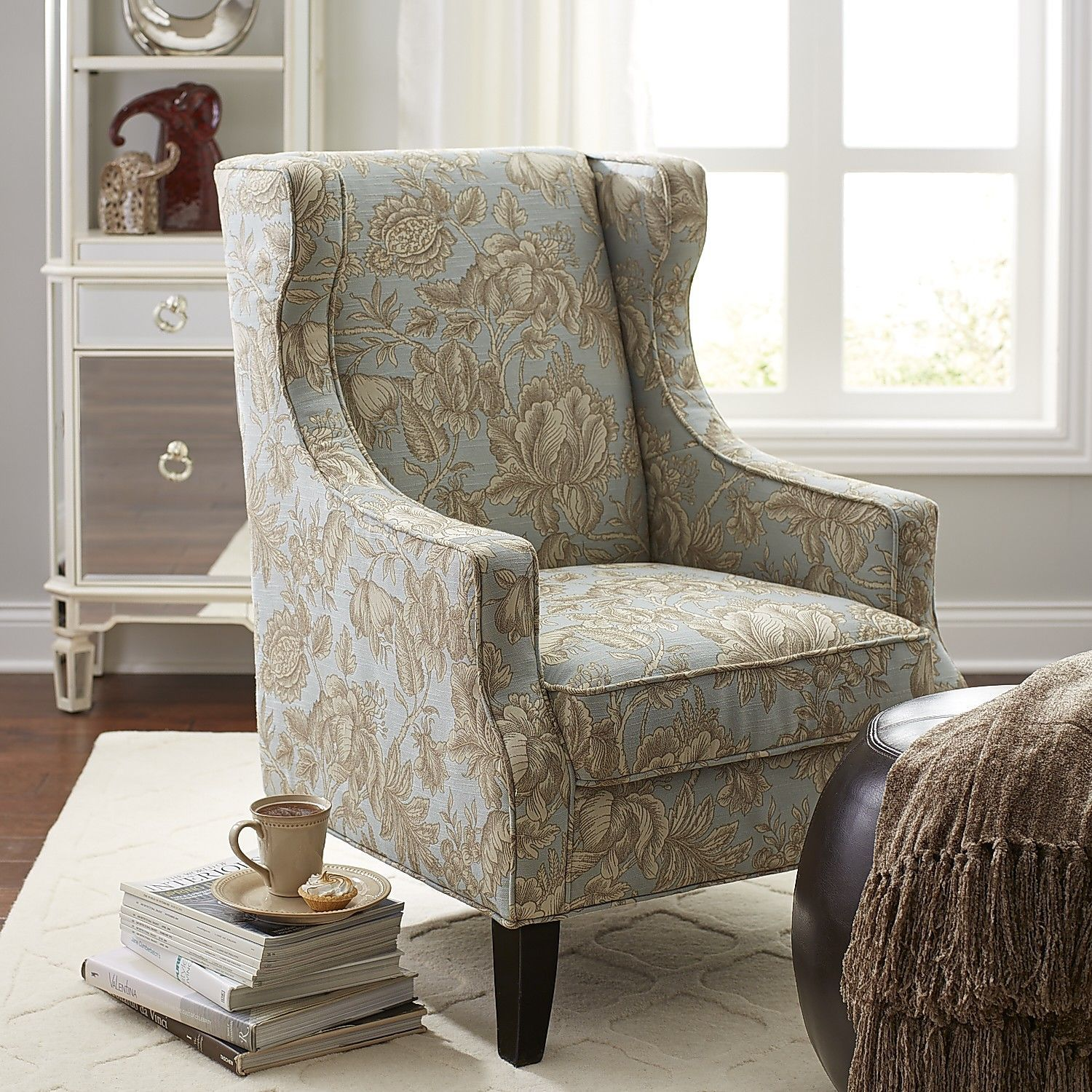 Alec Blue Floral Wing Chair Living Room Chairs Living