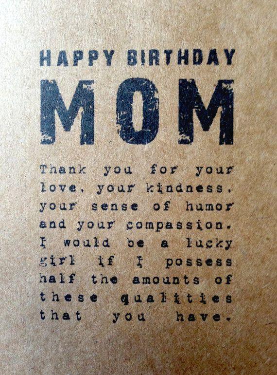 Rustic mom birthday card Rustic blank card Kraft by