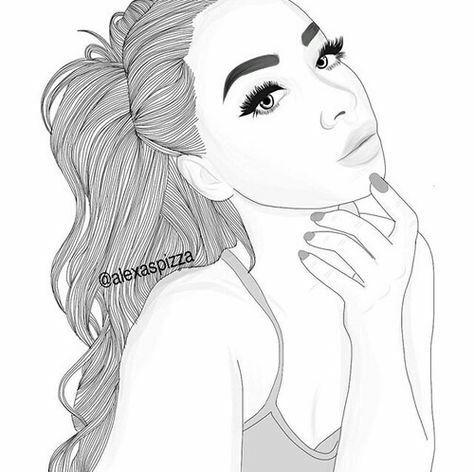 Beautiful Black And White Draw Girl Illustration