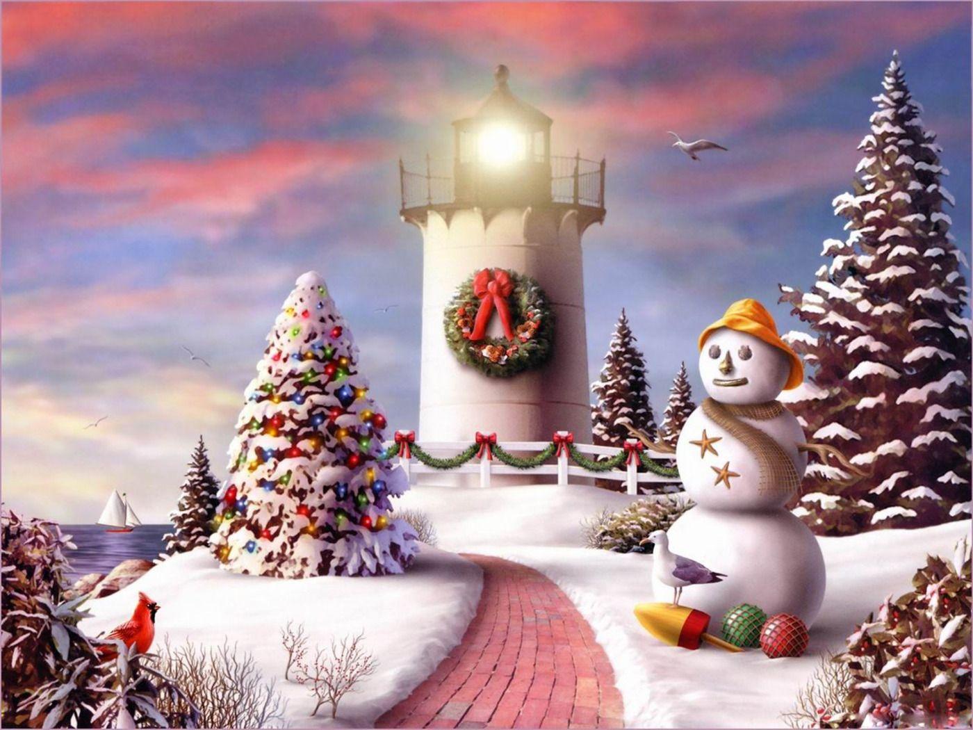 christmas lighthouse art Free Download 2010 Christmas