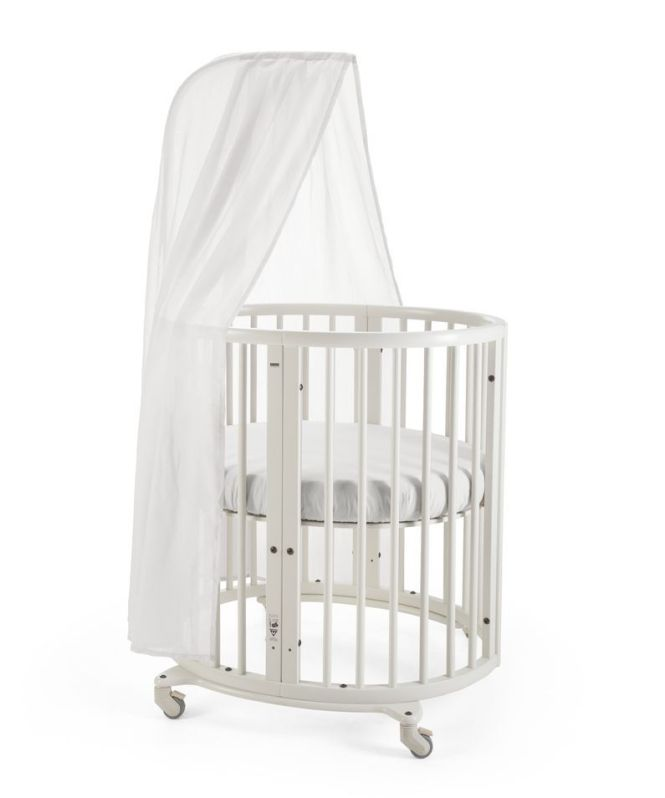 Stokke Sleepi Mini Crib In White With Canopy Rod The Bed Creates A