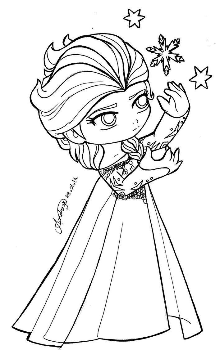Chibi Princesses Chibi Queen Elsa Frozen By Tifayuy Coloring
