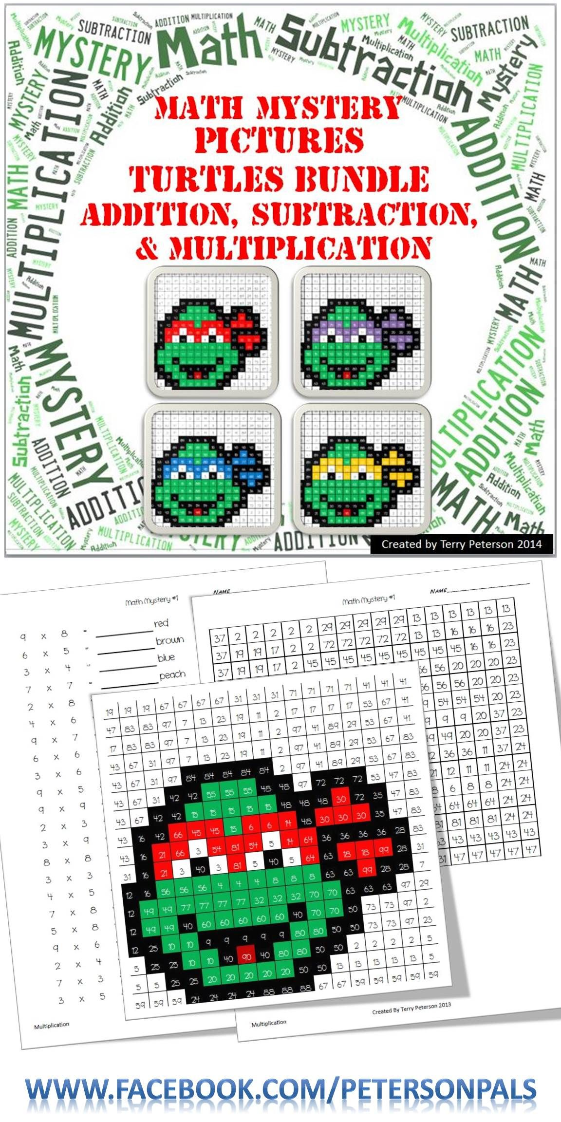 Ninja Turtles Math Mystery Pictures Bundle Addition Subtraction Amp Multiplication