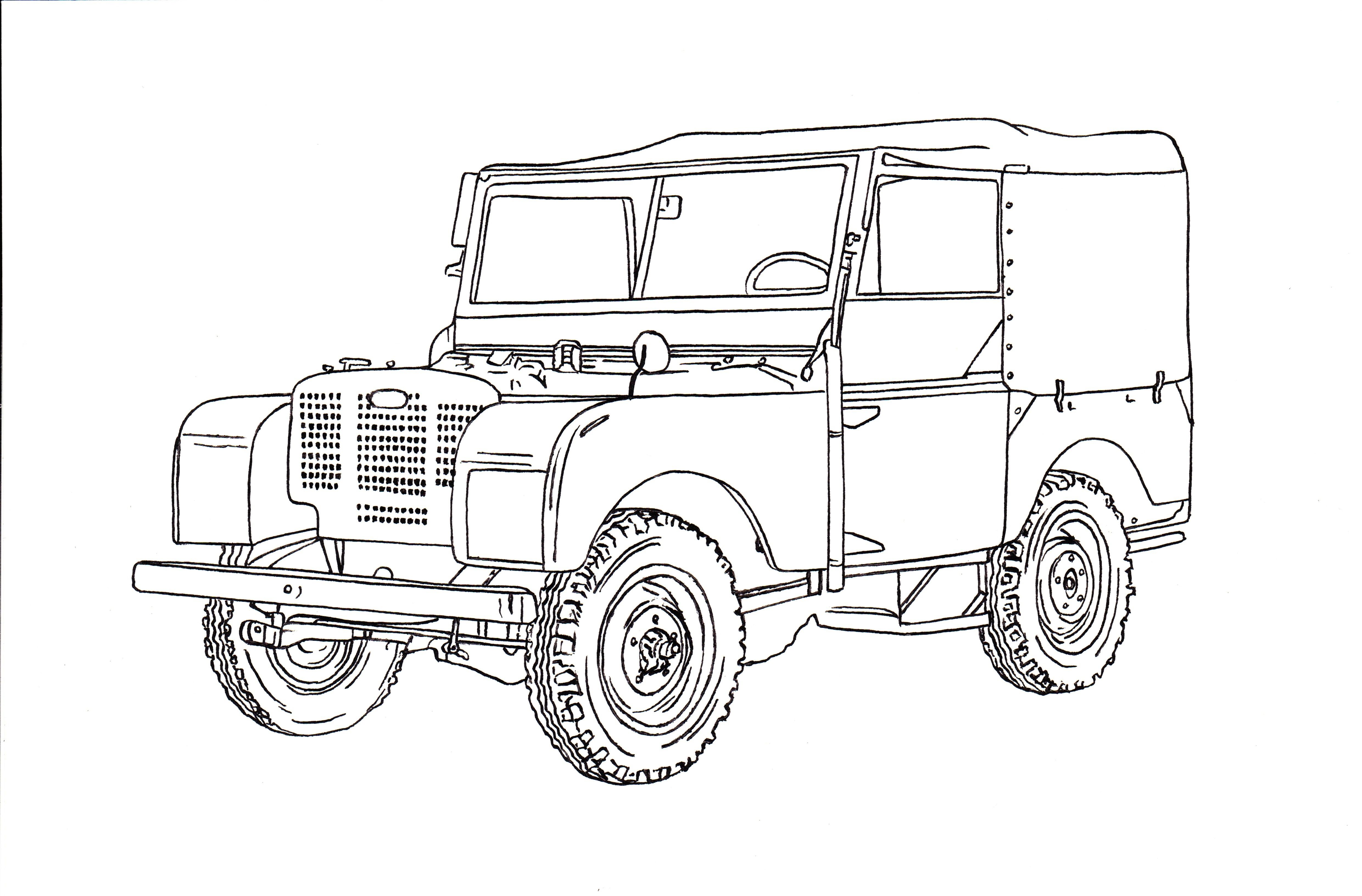 Land Rover Series I Ink Drawing