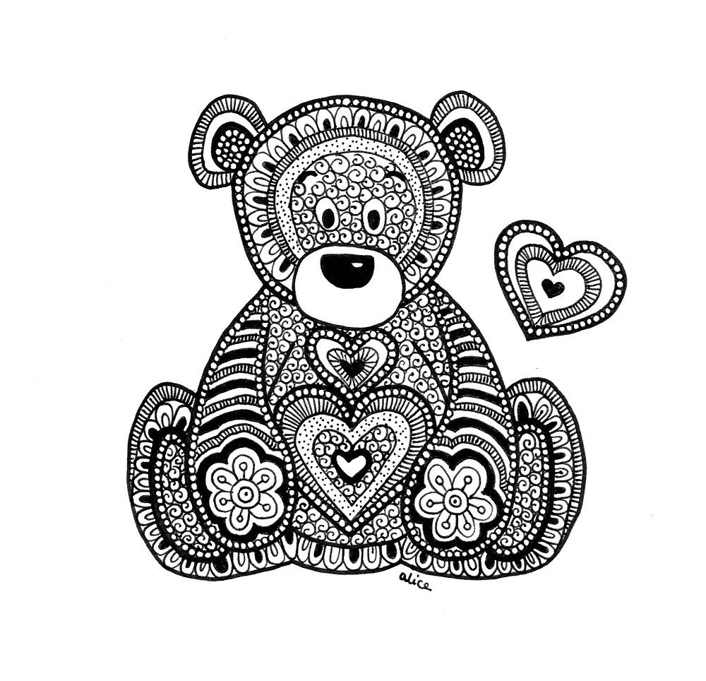 Black&White Zentangle Inspired Teddy Bear with Heart by