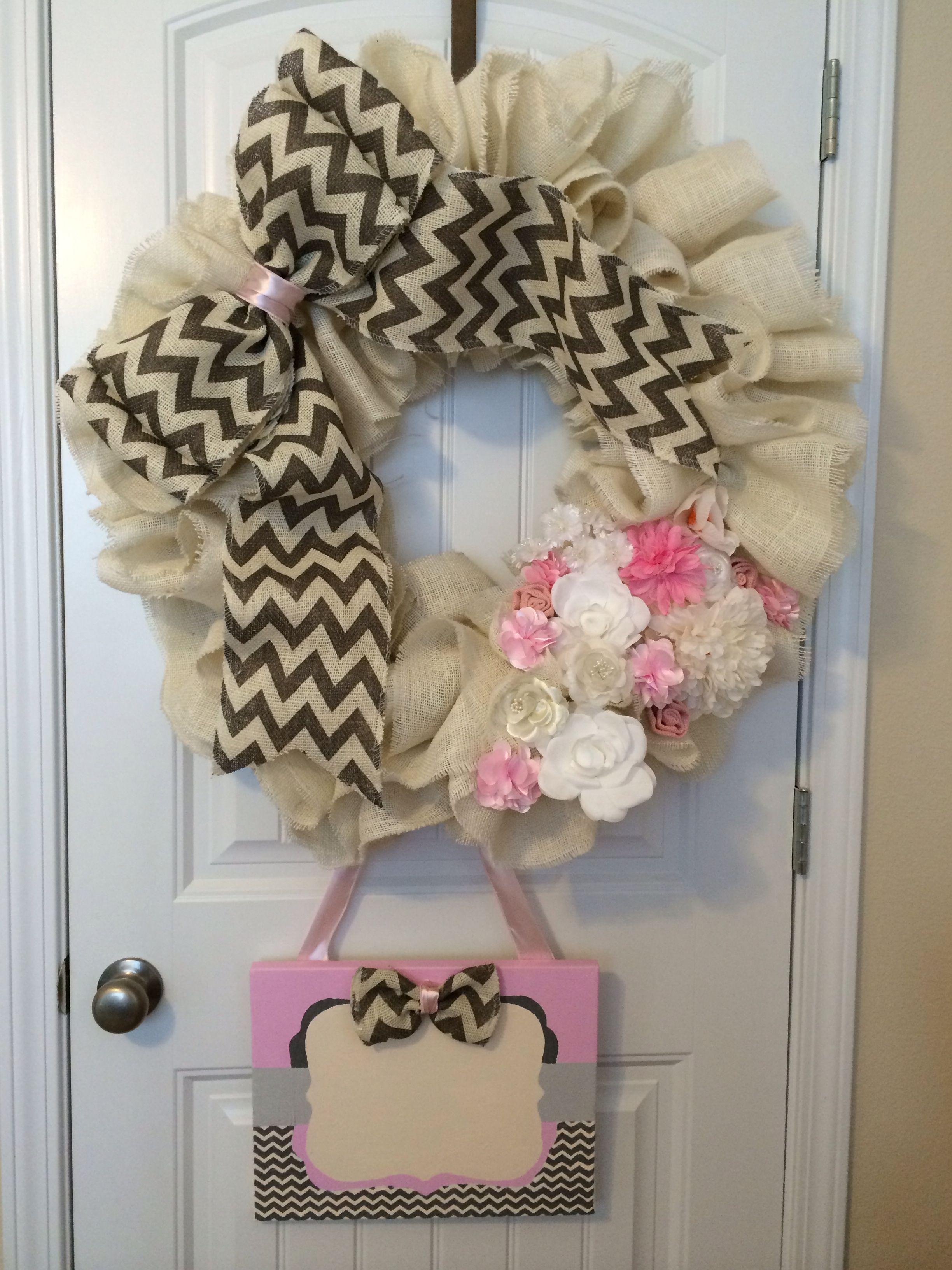 Baby Girl Birth Announcement Wreath for Hospital door