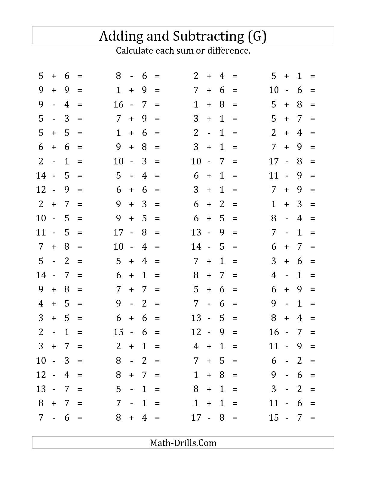 The 100 Horizontal Addition Subtraction Questions Facts 1 To 9 G Math Worksheet From The