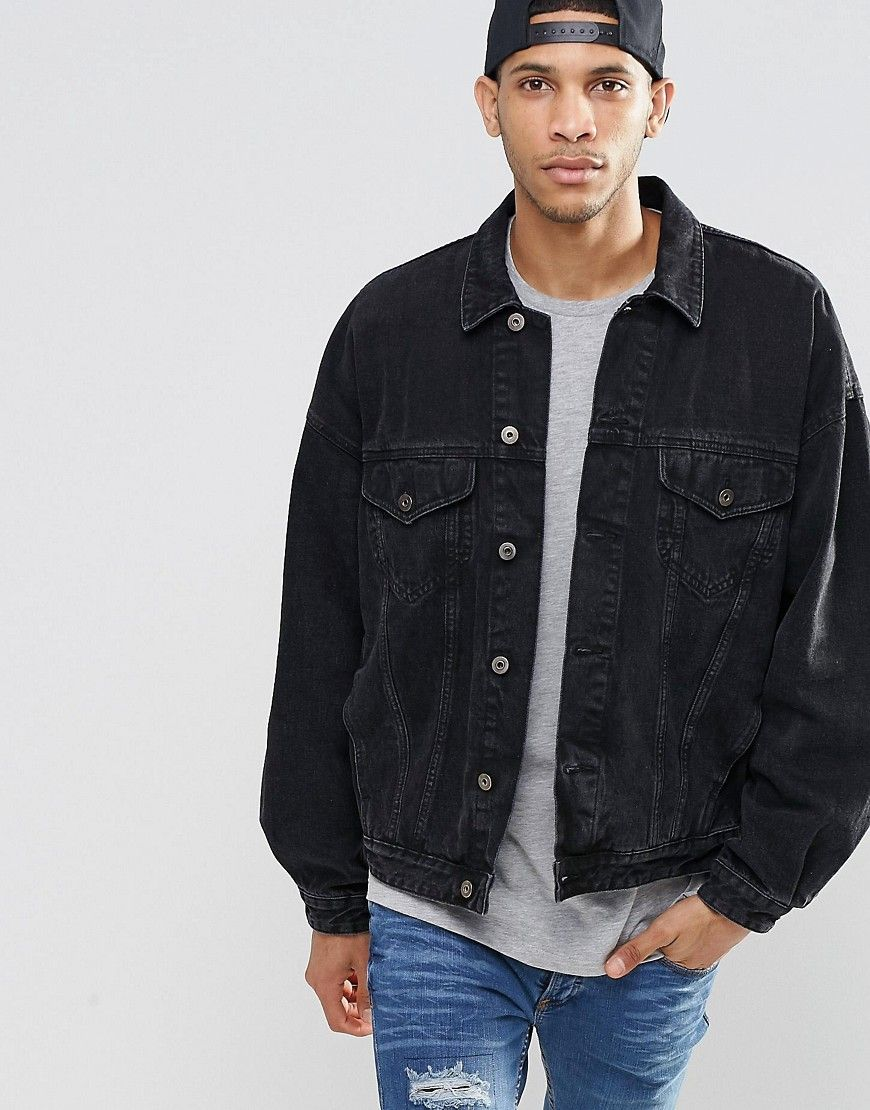 Image 1 of ASOS Denim Jacket In Oversized Fit With Black