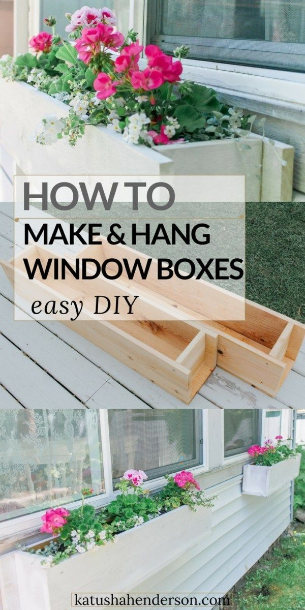 Easy Flower Window Box DIY How to make and hang window flower box. How to buid a window planter. Hanging basket DIY. Gardening