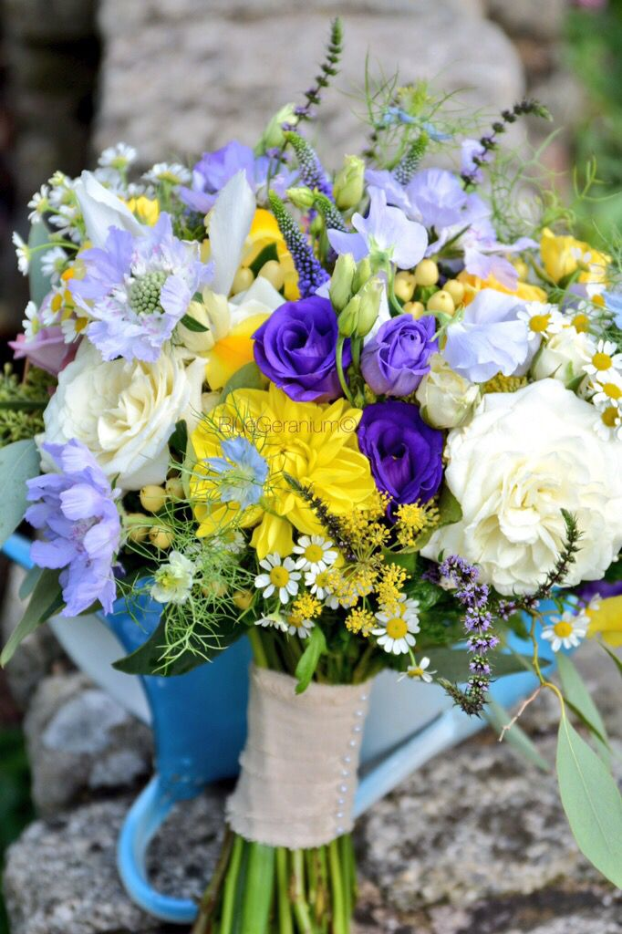 Cottage Garden style bridal bouquet of seasonal blue