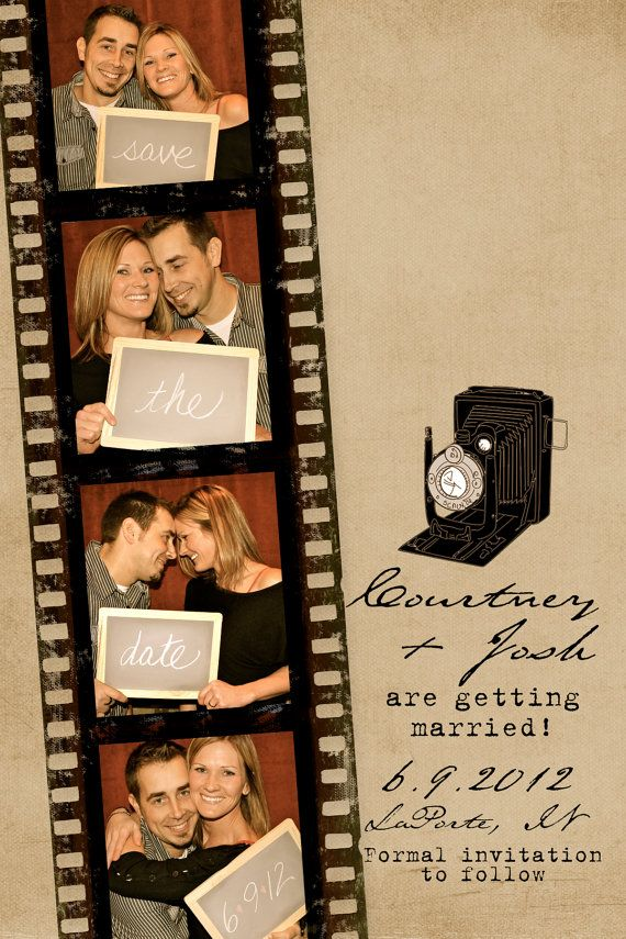 Film Strip Photo Booth Save the Date Cards or